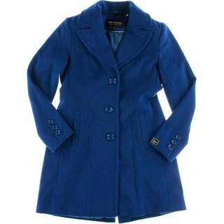 Kristen Blake Womens Petites Wool Long Sleeves Coat