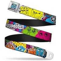 Gumball Face Close Up Black Full Color Gumball & Darwin Expressions Collage Seatbelt Belt