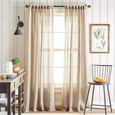 Martha Stewart Linen Stripe Back Tab Curtain Panel Pair