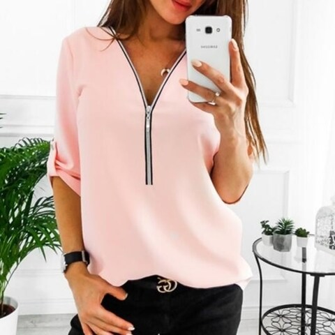Chiffon Roll-up Sleeve V Neck Zipper Casual Shirt