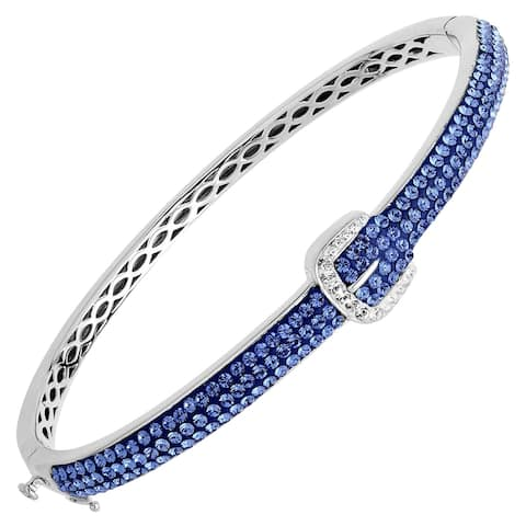 Crystaluxe Buckle Bangle with Blue & White Swarovksi Crystals in Sterling Silver