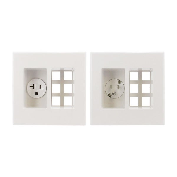 Wallblade by Sewell, Recessed Wall Plate Keystone Cable Drop with Power