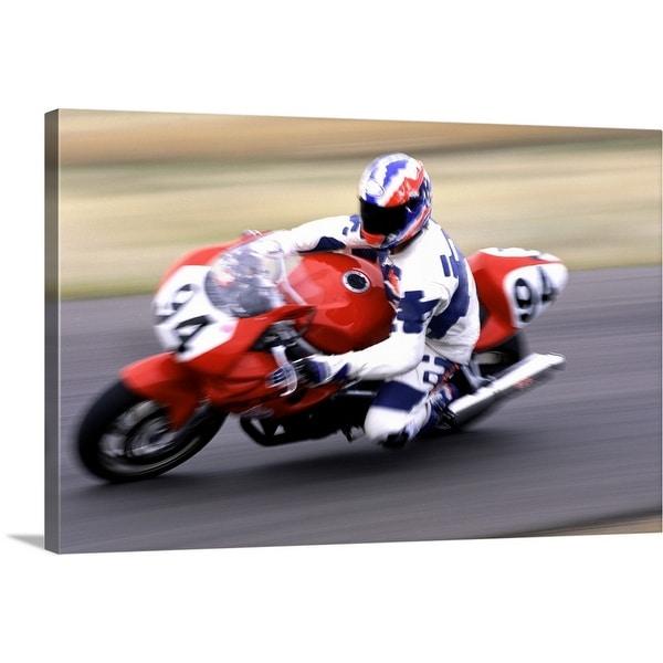"""Person racing motorcycle"" Canvas Wall Art"