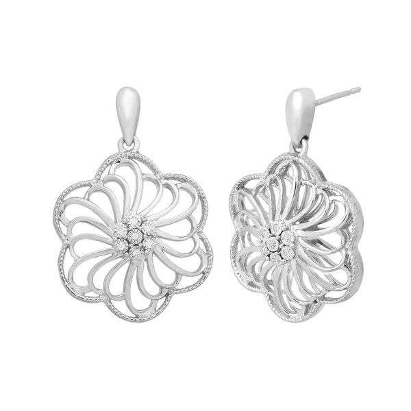 Flower Drop Earrings with Diamonds in Sterling Silver