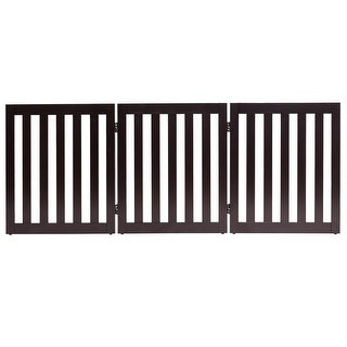 Gymax 24'' Configurable Folding Free Standing 5 Panel Wood Pet Dog Safety Fence Brown