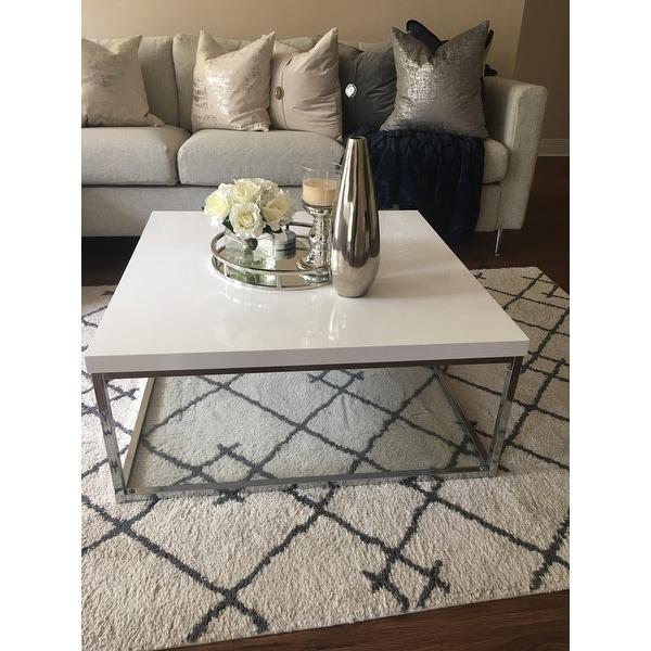 Shop Safavieh Malone White Chrome Coffee Table On Sale Free
