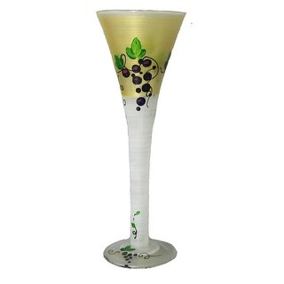 Set of 2 Grapes and Vines Hand Painted Hollow Stem Flute Drinking Glass - 16 Oz.