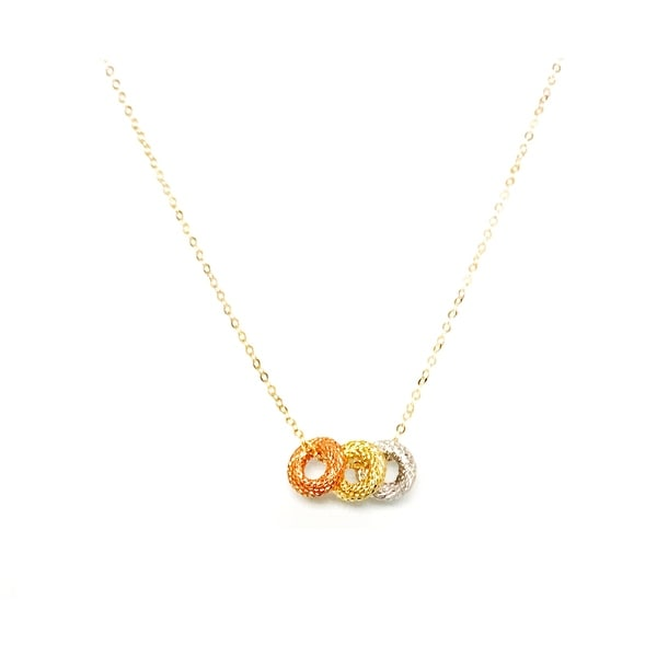 "Mcs Jewelry Inc 14 KARAT THREE TONE, YELLOW GOLD, ROSE GOLD, AND WHITE GOLD, TEXTURED RINGS PENDANT NECKLACE (18"") - Multi"