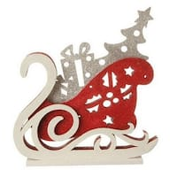 "13.25"" Red, White and Silver LED Lighted Sleigh Silhouette Table Top Christmas Decoration"