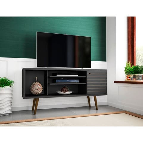 Liberty 53.14 In. Mid Century Modern 5 Shelf TV Stand
