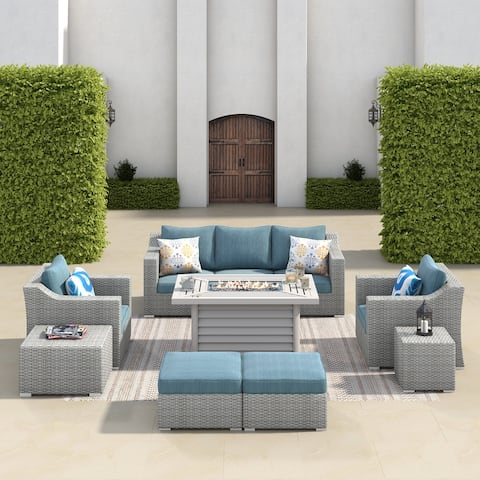 Corvus Martinka 10-piece Rectangle Fire Pit Wicker Patio Furniture Set