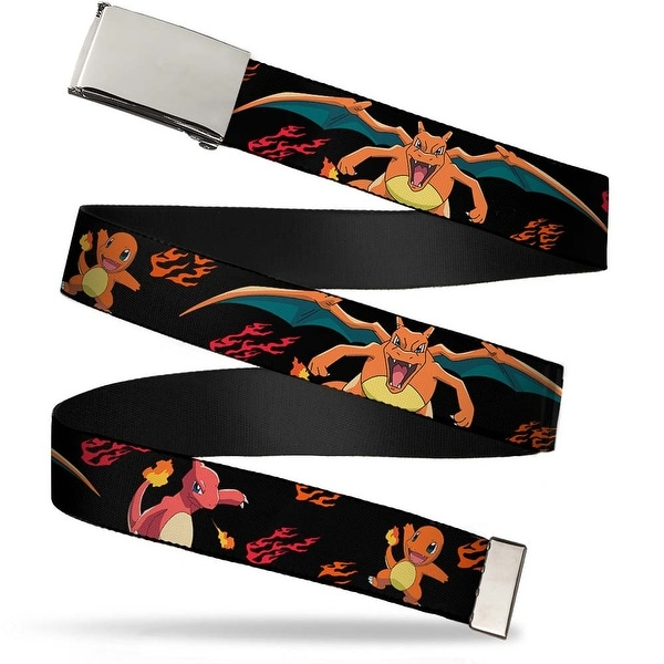 Blank Chrome Buckle Charmander Evolution Poses Flame Black Red Orange Web Belt - S