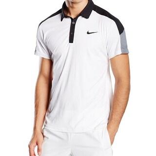 Nike NEW White Mens Size Medium M Colorblock Polo Shirt Athletic Apparel