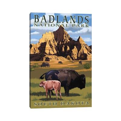 "iCanvas ""Badlands National Park (Bison And Calf)"" by Lantern Press Canvas Print"