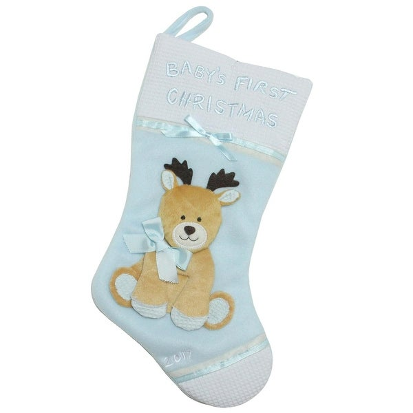 "16"" Blue and White ""Baby's First Christmas"" with Reindeer Applique Fleece Christmas Stocking"