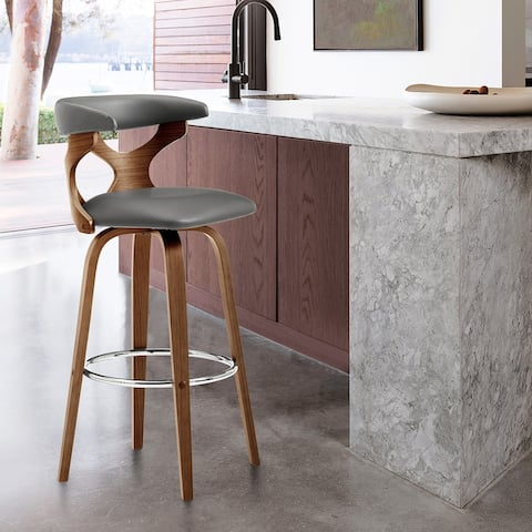 Zenia Swivel Bar Stool in Faux Leather and Wood