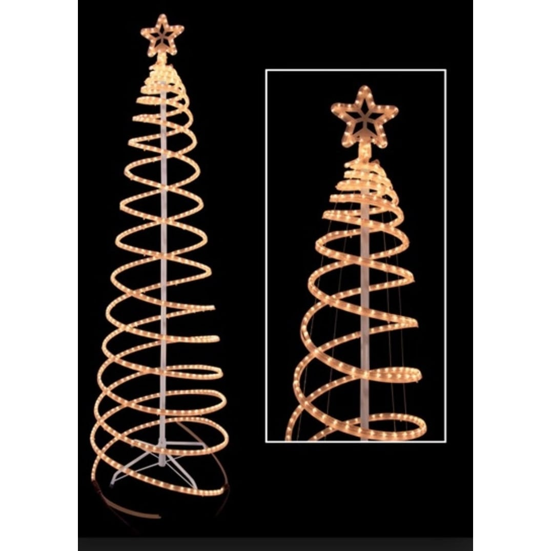 6' Warm White LED Lighted Outdoor Spiral Rope Light Christmas Tree Yard Art Decoration - N/A thumbnail
