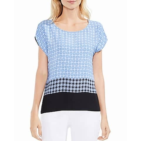 Vince Camuto Blue White Womens Size Large L Short Sleeve Blouse