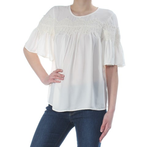 LUCKY BRAND Womens White Embroidered Short Sleeve Crew Neck Top Size: XS