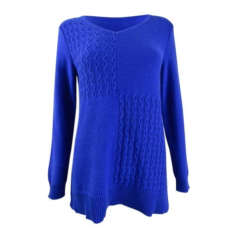 Karen Scott Women's Cotton Mixed-Stitch Sweater