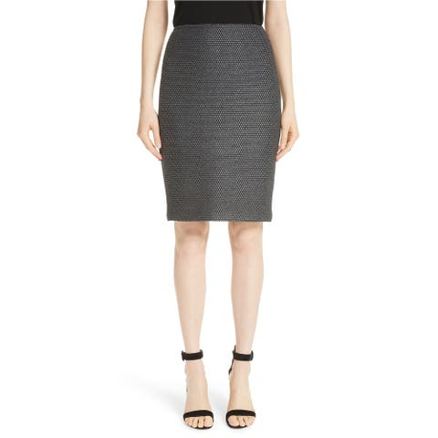St. John Womens Sofia Knit Pencil Skirt, Grey, 12