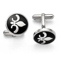 Chisel Stainless Steel Black Enamel with Fleur de lis Cuff Links