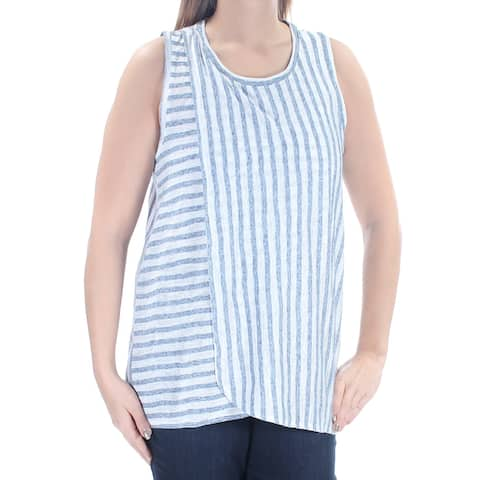 VINCE CAMUTO Womens Blue Striped Sleeveless Jewel Neck Top Size: L