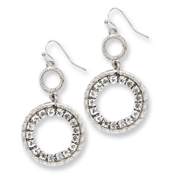 Silvertone Clear Crystal Crosses Leverback Earrings