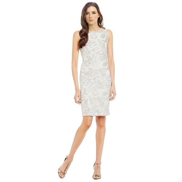 Calvin Klein Sleeveless Sequined Lace Cutout Back Sheath Cocktail ...