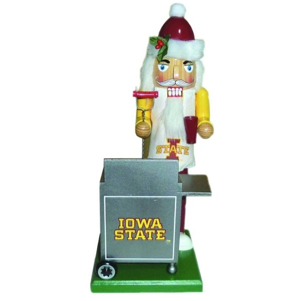 "12"" NCAA Iowa State Cyclones Sports Tailgating Wooden Christmas Nutcracker - YELLOW"