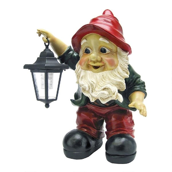 """16"""" Gnome Holding Lantern Hand Painted Outdoor Garden Statue - N/A"""