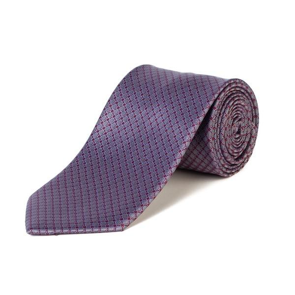 08926160 Brioni Men's Silk Circle Pattern Tie Red/Grey - No Size