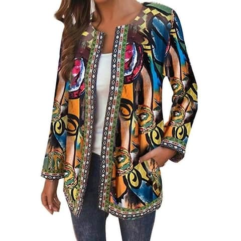 Plus Size U Neck Abstract Casual Cardigan