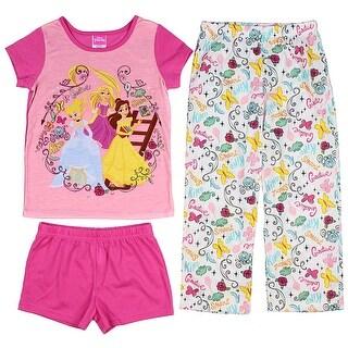 Disney Princess Girls' Belle Cinderella And Rapunzel 3-Piece Pajama Set