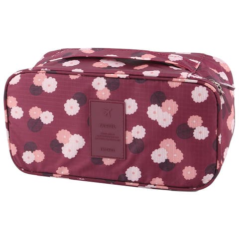 Flower Pattern Drawer Dividers Underwear Bra Organizer Storage Bag Wine Red