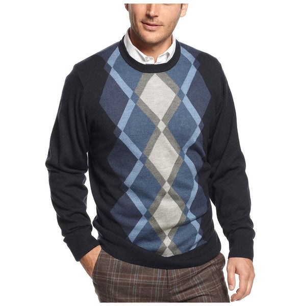 Tricots St Raphael Argyle Sweater X-Large Navy Blue Crewneck Pullover