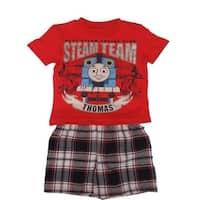 Thomas The Train Little Boys Red Plaid Steam Team T-Shirt 2 Pc Shorts Set