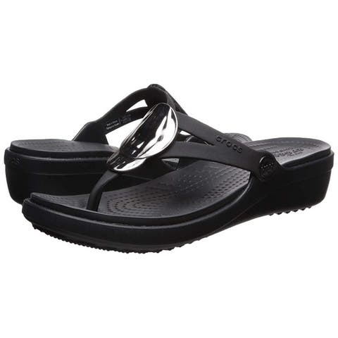 Crocs Womens Sanrah Liquid Split Toe Casual Slide Sandals