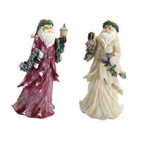 """Set of 4 Red and White Frosted Santa Claus Christmas Table Top Figures 16.75"""""""