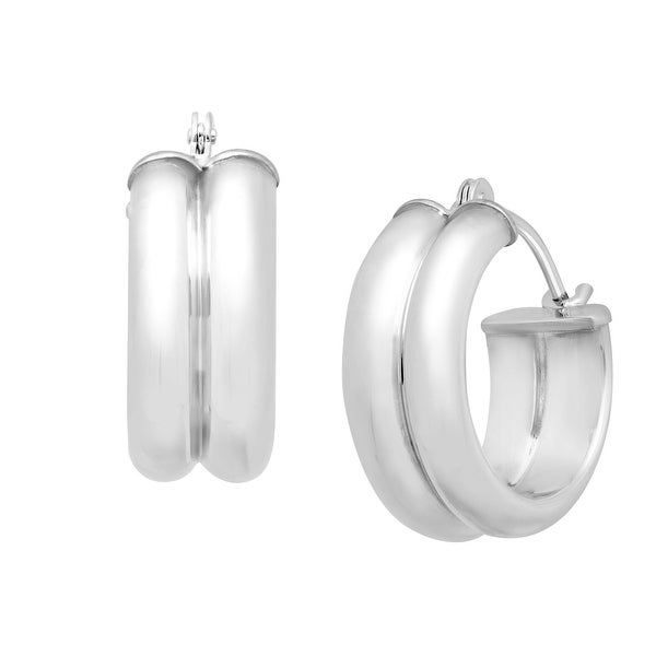 Just Gold Double Round Hoop Earrings in 14K White Gold