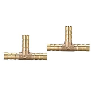 "5/16"" Brass Barb Hose Fitting Tee  3Way Connector Joiner Air Water Fuel Gas,2pcs - 8mm 2pcs"