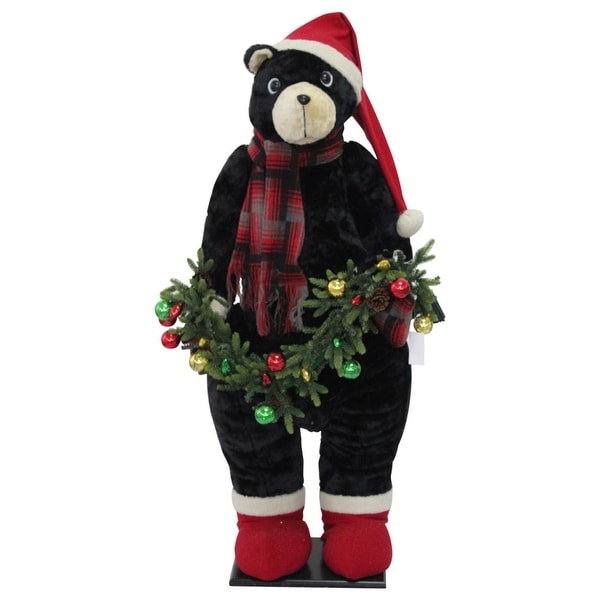 "52"" Red and Brown Christmas Bear Inflatable"