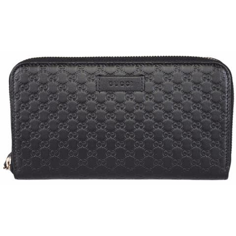 0c7dc9d786b2 Gucci Women's 449391 Black Leather Micro GG Guccissima Zip Around Wallet -  7.5