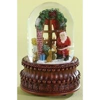 "8"" Christmas Night Santa at Window Rotating Musical Snow Globe Glitterdome - Set of 2 - Red"