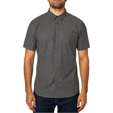 FOX Mens Chambray Stretch Button Up Shirt, Grey, Small