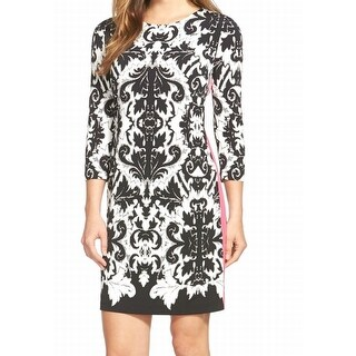 Eliza J NEW Black Pink Contrast Damask Women's Size 8 Sheath Dress $78 #466