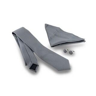 Coordinating Diagonal Stripe Tie, Cufflinks, Handkerchief 3 Piece Gift Box Set