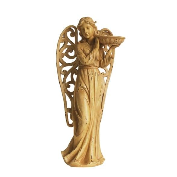 "24.5"" Tranquil Angel with Scrollwork Wings Outdoor Patio Garden Birdbath"