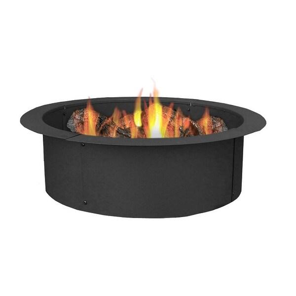 sunnydaze durable steel fire pit ring liner diy fire pit rim 27 inch diameter - Fire Pit Ring