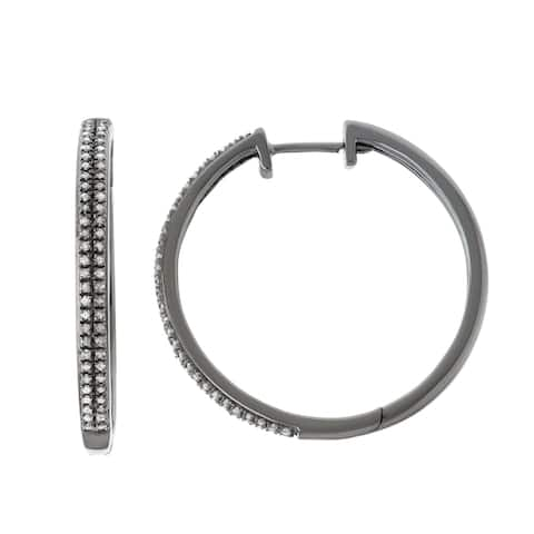 HDI 0.50 CTTW Two Row Diamond Hoop With All Black Rhodium in Sterling Silver